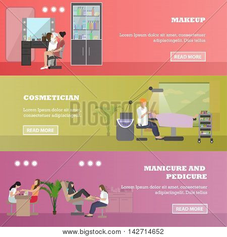 Beauty salon vector concept banners. People in manicure and cosmetic studio illustration in flat cartoon style.