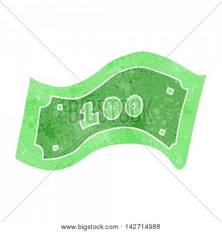 freehand retro cartoon 100 dollar bill