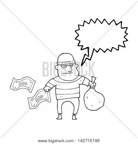 freehand drawn speech bubble cartoon bank robber