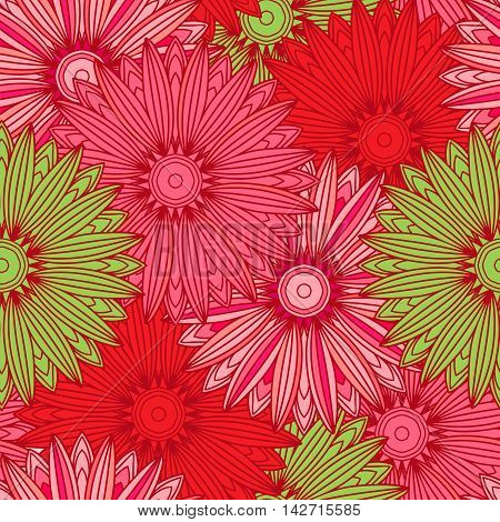 Seamless pattern with ornamental flowers in beautiful colors. Vector illustration