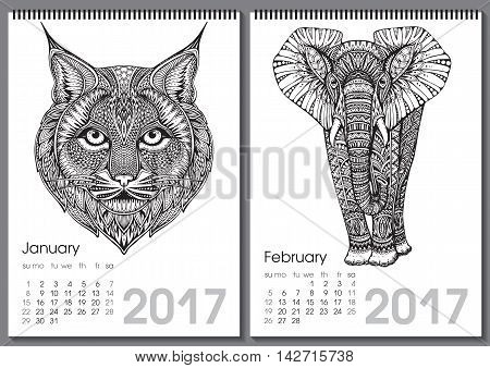 Calendar 2017. Beautiful ornate hand drawn animals for every month. Vector illustration. Two months lists january, february with elephant, bobcat.