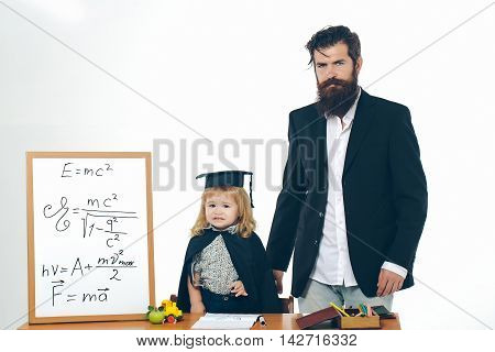 Cute Child And Bearded Professor