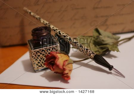 Old style hand writing kit with precious glass pen and ink poster