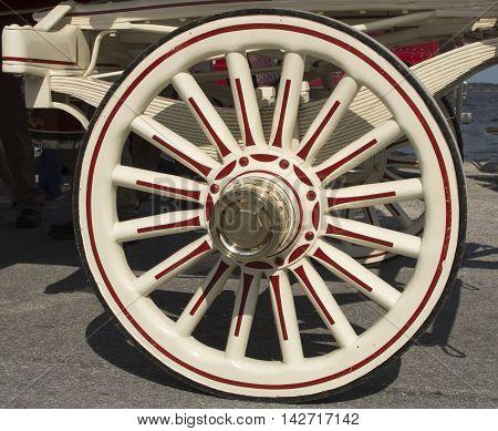 Close up of a Beer Wagon Wheel in New Bern North Carolina