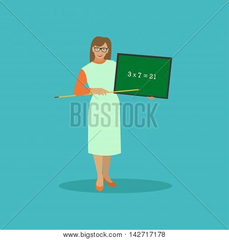 School teacher with chalkboard vector illustration in flat style design.