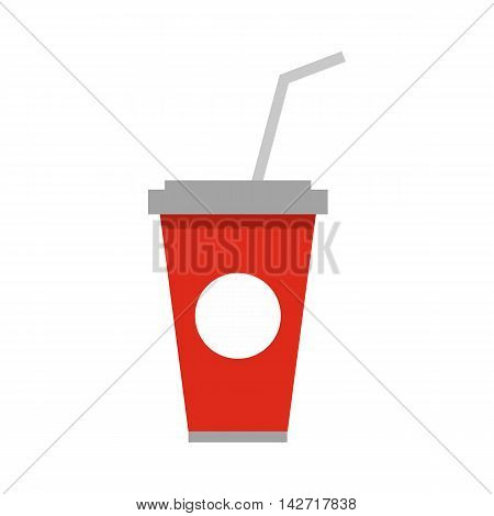 Soft drink in a red paper cup with lid and straw icon in flat style on a white background