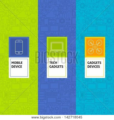 Line Gadgets Devices Patterns Set. Vector Illustration of Logo Design. Template for Packaging with Labels.