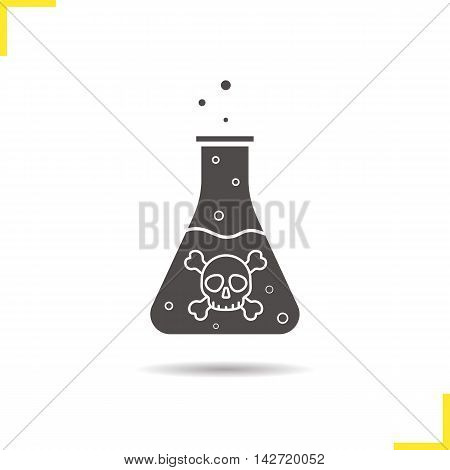 Poison icon. Drop shadow silhouette symbol. Boiling, danger liquid with crossbones and bubbles. Negative space. Vector isolated illustration