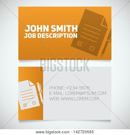 Business card print template with signed contract and pen logo. Easy edit. Lawyer. Negotiator. Advocate. Stationery design concept. Vector illustration