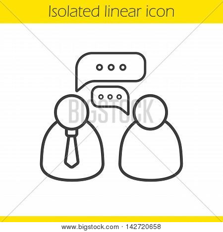 Job interview linear icon. Discussion. Thin line illustration. Business talk contour symbol. Vector isolated outline drawing
