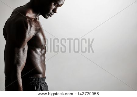 Torso Of A Muscular Man With Copyspace