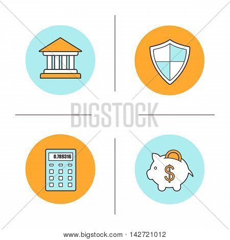 Banking and finance color icons set. Bank building, protection shield sign, calculator, piggy bank with coin. Courthouse. Vector isolated illustrations
