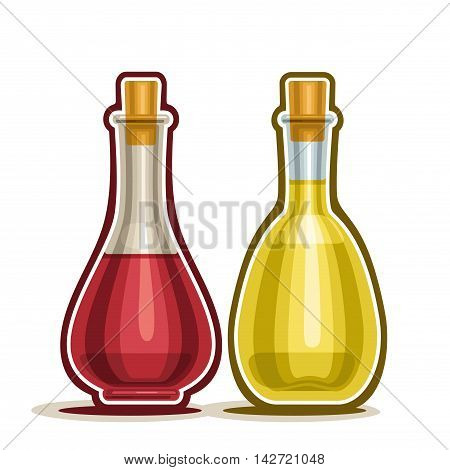 Vector logo Decanter with Red and White Wine Vinegar with cork wooden cap, cartoon cruet olive oil isolated on white background
