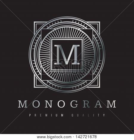 абстрактная векторная геометрическая композиция монограмма в серебристой гамме