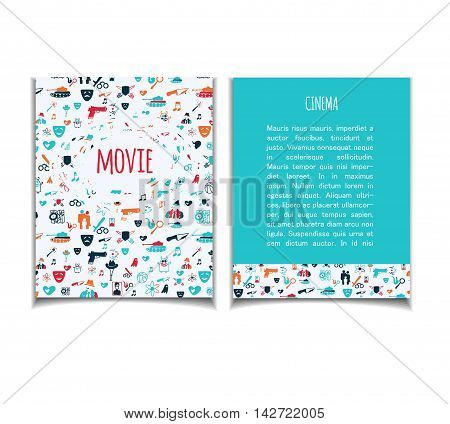Cinema vector template set. Movie genre theme: action romance comedy drama detective horror fantasy.