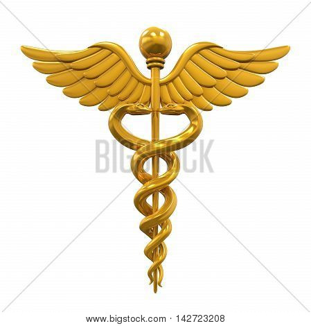 Golden Caduceus Medical Symbol isolated on white background. 3D render