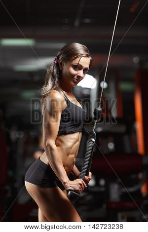 Fitness woman in the gym. Young woman doing fitness exercises in the gym. Perfect physique athletic young woman, perfect abs, shoulders and biceps. poster