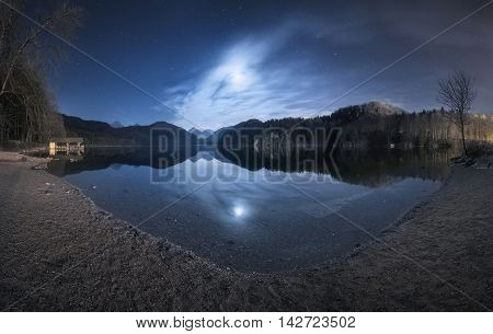 Night In Alpsee Lake In Germany. Beautiful Landscape