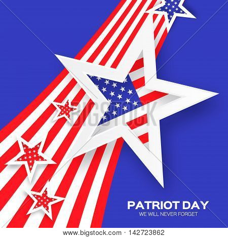 Origami Patriot Day on blue background with stars and stripes. Abstract american flag. We will never forget. September 11 2001. Vector illustration. Poster Template.