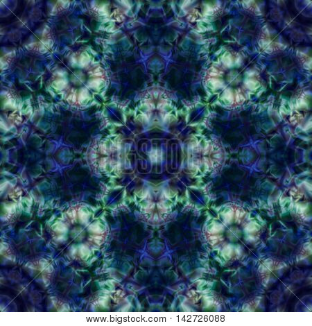 Kaleidoscopic design abstract ornament seamless texture wavy lue bpsychedelic pattern background