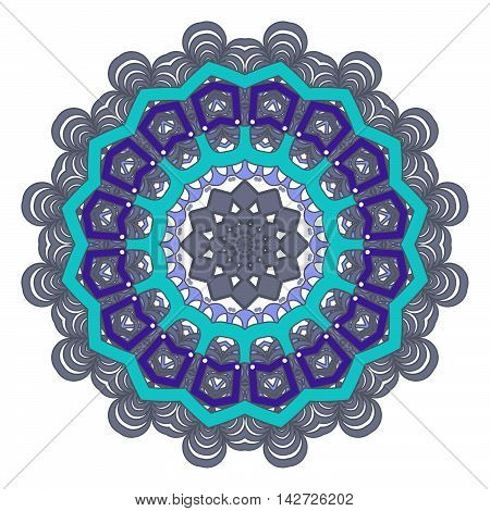 Mandala with geometric elements. Ethnic mandala with colorful ornament. Isolated. Gray blue dark blue colors.