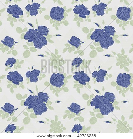 Seamless flower blue roses pattern on white background