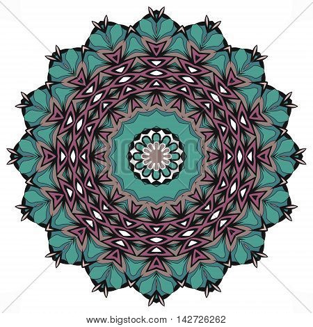 Ethnic mandala with teal and purple colorful geometric elements isolated on white.