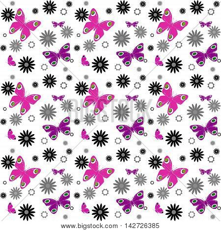 Butterflies on white background seamless pattern  romantic