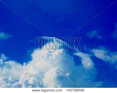 Cumulonimbus cloud during heat summer day indicating storm formation in unstable air mass (atmosphere) before cold front arrival
