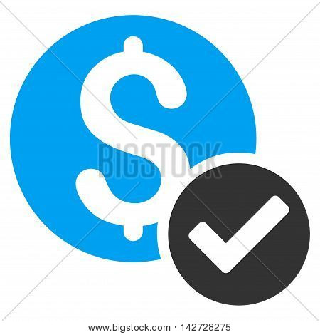 Approved Payment icon. Vector style is bicolor flat iconic symbol with rounded angles, blue and gray colors, white background.
