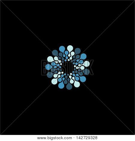 Isolated abstract blue color flower vector logo. Round shape molecular connection logotype on the black background. Molecular connection illustration. Floral pattern.