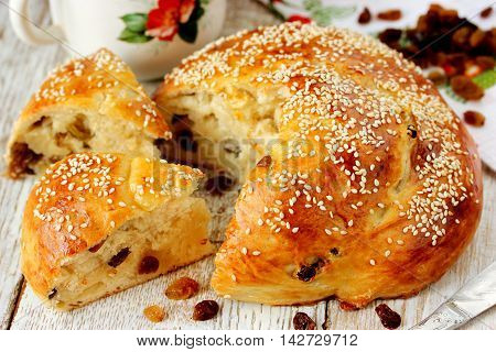 Sweet yeast bread with raisins selective focus