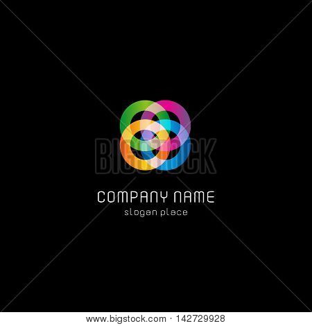 Isolated abstract colorful connected circles vector logo. Rings on the black background logotype. Geometric shape icon. Wheels and hoops illustration.
