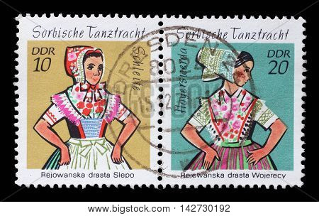 ZAGREB, CROATIA - JULY 03: a stamp printed in GDR shows Sorbian Dance Costume, Hoyerswerda, circa 1971, on July 03, 2014, Zagreb, Croatia