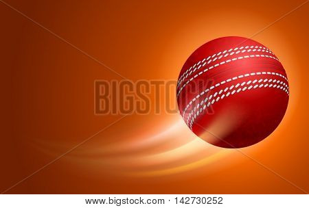 Horizontal Card for Cricket Club with Flying Red Cricket Ball on Orange Background. Realistic Editable Vector Illustration.