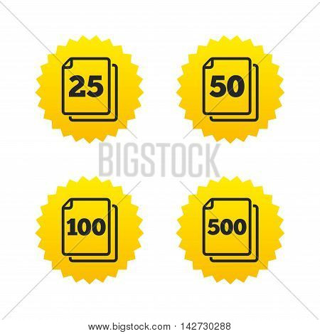 In pack sheets icons. Quantity per package symbols. 25, 50, 100 and 500 paper units in the pack signs. Yellow stars labels with flat icons. Vector