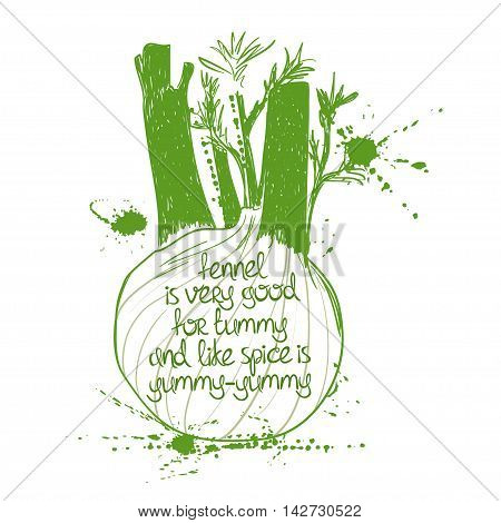 Hand drawn illustration of isolated fenel silhouette on a white background. Typography poster with creative poetic quote inside - fennel is very good for tummy and like spice is yummy-yummy.
