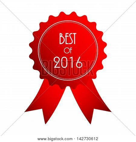 best of 2016 red badge with ribbon,
