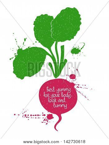 Hand drawn illustration of isolated red radish silhouette on a white background. Typography poster with creative poetic quote inside: best yummy for your body look and tummy.