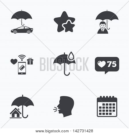 Life, Real estate or Home insurance icons. Umbrella with water drop symbol. Car protection sign. Flat talking head, calendar icons. Stars, like counter icons. Vector