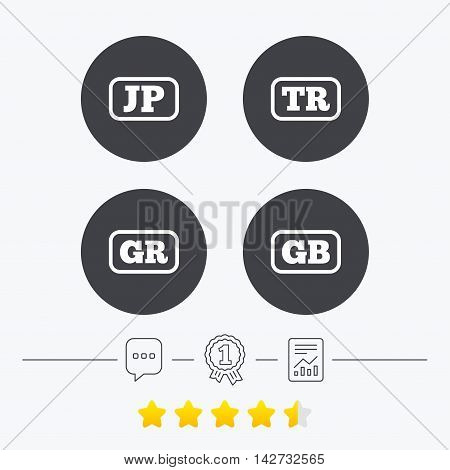 Language icons. JP, TR, GR and GB translation symbols. Japan, Turkey, Greece and England languages. Chat, award medal and report linear icons. Star vote ranking. Vector