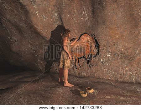 3d illustration of a caveman painting in a cave