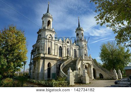 Moscow, Russia - October 06, 2013: Church of the Vladimir icon of the Mother of God - the famous monument of Russian Gothic revival of the eighteenth century in the village of Bykovo Ramensky district Moscow region.