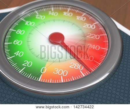 3D illustration. Morbid Obesity. Analogue scale showing the movement on weight gain.