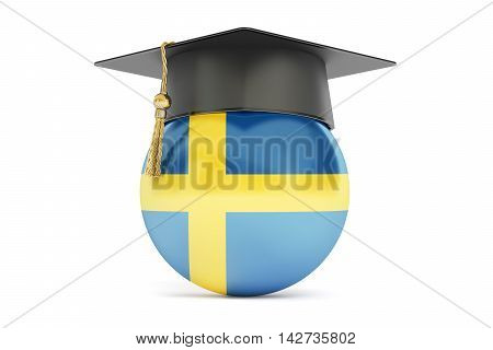 education in Sweden concept 3D rendering isolated on white background