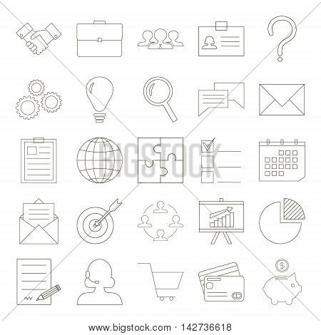 Modern thin line style business icon set. Business meeting brainstorming ideas research analytics planning contract signing and sales concept