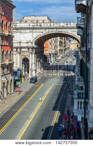 Ponte Monumentale In Via Xx Settembre. Genova. Liguria, Italy.