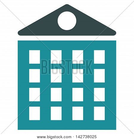 Multi-Storey House icon. Vector style is bicolor flat iconic symbol with rounded angles, soft blue colors, white background.