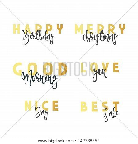 Inscriptions handmade calligraphy lettering. Happy Birthday. Merry Christmas. Good morning. I love you. Nice day. Best sale.
