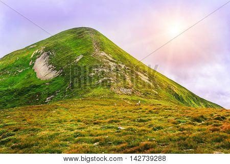 Picturesque Carpathian mountains landscape view of mount Hoverla Ukraine poster